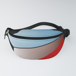 Ombre blue red star on black background Fanny Pack