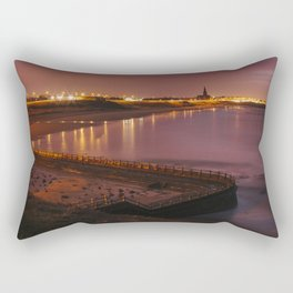 Old sea bathing pool and Tynemouth Church at night. Northumberland, UK. Rectangular Pillow