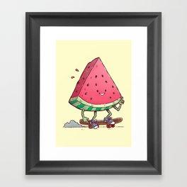 Watermelon Slice Skater Framed Art Print