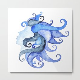 Mermaid Head Metal Print