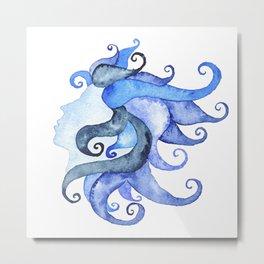 Mermaid Head Metal Print