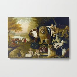 Classical Masterpiece 1833 'A Peaceable Kingdom' by Edward Hicks Metal Print