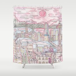 Seattle in Colored Pencil Shower Curtain