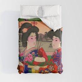 Two Geishas Duvet Cover