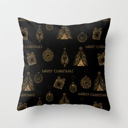 Christmas Golden pattern on black background. Throw Pillow
