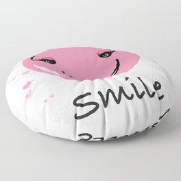 Pink cute smily face design Floor Pillow