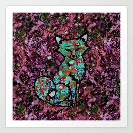 Hydrangea Fox Art Print