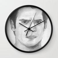 man of steel Wall Clocks featuring Man of Steel by Feroz Bukht