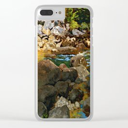 Carl Schuch Mountain Stream with Boulders Clear iPhone Case