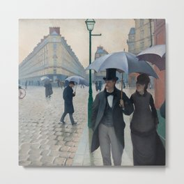 Paris Street; Rainy Day,  1877, Gustave Caillebotte Metal Print