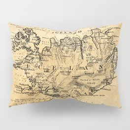 Old Map of Iceland Pillow Sham