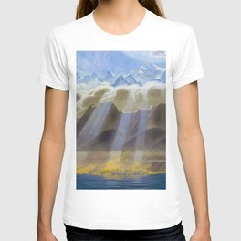 Sun Over Southern Mountains and Sea landscape by Jens Ferdinand Willumsen T-shirt