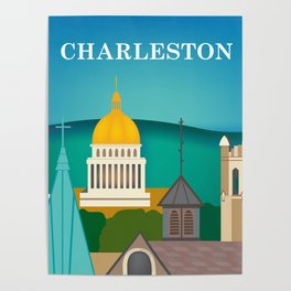 Charleston, West Virginia - Skyline Illustration by Loose Petals Poster