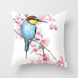 Bee-Eater and Spring Blossom, Turquoise Pink floral decor Throw Pillow