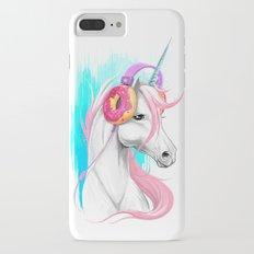 Unicorn in the headphones of donuts iPhone 7 Plus Slim Case
