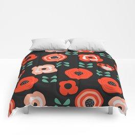 Midnight floral decor Comforters