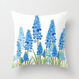 blue grape  hyacinth forest Throw Pillow