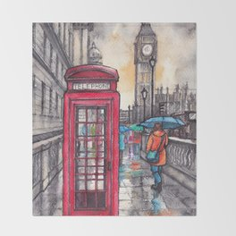 Rainy day in London ink & watercolor illustration Throw Blanket