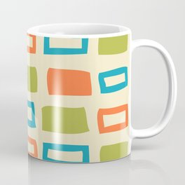 Mid Century Modern Abstract Squares Pattern 742 Olive Orange and Turquoise Coffee Mug