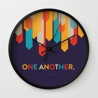 scripture Wall Clocks featuring One Another Scripture Poster (Romans 14) by Jess Creatives