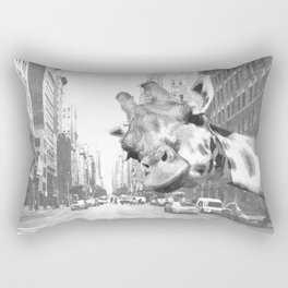 Black and White Selfie Giraffe in NYC Rectangular Pillow