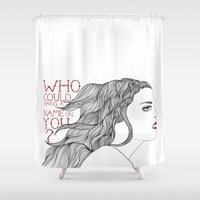 ruby Shower Curtains featuring Ruby by blonda