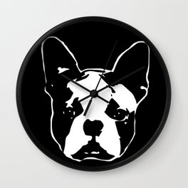 CHRISTMAS WITH YOUR BOSTON TERRIER DOG GIFT WRAPPED FOR YOU FROM MONOFACES Wall Clock