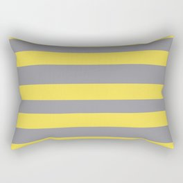 Hand Drawn Fat Horizontal Line Pattern Pantone 2021 Color Of The Year Illuminating and Ultimate Gray  Rectangular Pillow