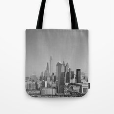 Black and White Philadelphia Skyline Tote Bag