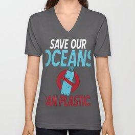 Save Our Oceans Ban Plastics Coastal Cleanup No Nurdles Unisex V-Neck