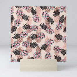 Pretty Pink Rose Gold Floral Pineapple Fruit Pattern Mini Art Print