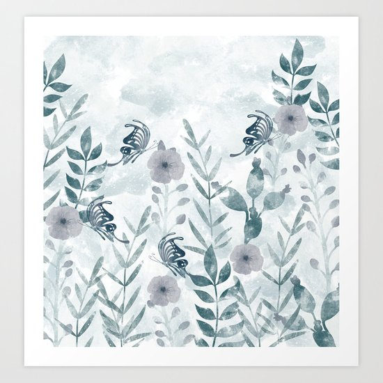 Watercolor floral garden II Art Print