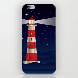 Cartoon landscape with lighthouse night sea and starry sky iPhone Skin