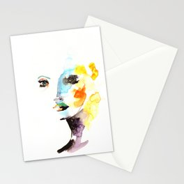 WATERCOLOR FACE Stationery Cards