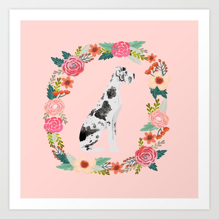 great dane dog floral wreath dog gifts pet portraits Art Print