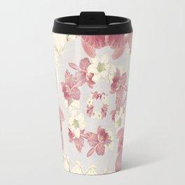 Pink and white floral Travel Mug