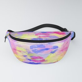 sexy kiss lipstick abstract pattern in pink blue yellow red Fanny Pack