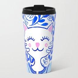 Folk Cat Travel Mug