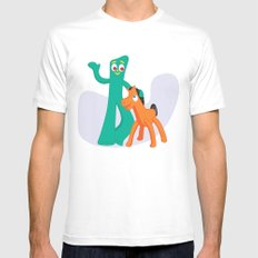 Gumby & Pokey White Mens Fitted Tee MEDIUM