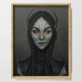 Dark Elf Girl Portrait Serving Tray