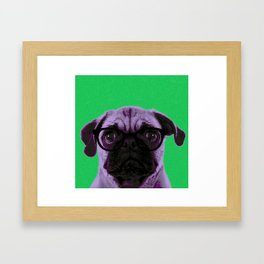 Geek Pug in Green Background Framed Art Print
