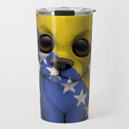 Cute Puppy Dog with flag of Bosnia - Herzegovina Travel Mug