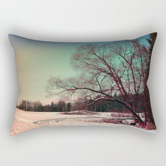 A snowy trail and some trees Rectangular Pillow