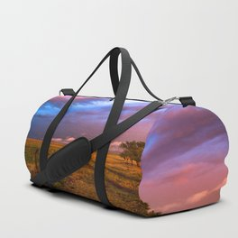 Far and Away - Lone Tree Under Colorful Sky in Oklahoma Panhandle Duffle Bag