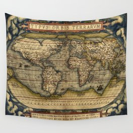 Vintage World Map - Ortelius World Map 1570 Wall Tapestry