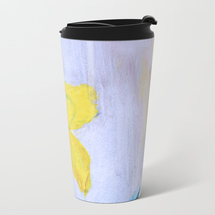 yellow summer iris 2 . Gift Ideas for Him and Her Metal Travel Mug
