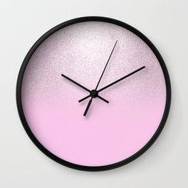 Girly blush pink lavender gradient glitter Wall Clock