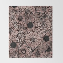 Floral Rose Gold Flowers and Leaves Drawing Black Throw Blanket