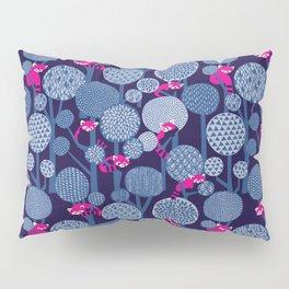 Red Panda Forest - Blue Pillow Sham