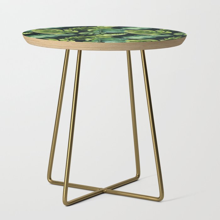 Watercolor Botanical Green Monstera Lush Tropical Palm Leaves Pattern on Solid Black Side Table